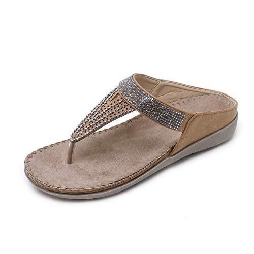 Frauen Sommer Plattform Keil Flip Flop Toe Post Tangasandalen mit Strass, Khaki 37EU Jewel Strap Sandal