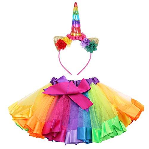 Rock Mädchen Kostüm Band - YiZYiF Mädchen Mini Tutu Regenbogen Rock mit Einhorn Haarband Tüllrock Mehrschichtige Rüschen Unterkleid Karneval Fasching Kostüm Bunt 104-110