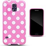 Zooky® Rosa TPU POLKA DOT Schutzhülle / Hülle / Cover für Samsung Galaxy S5 (i9600)