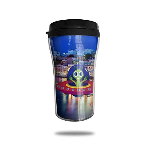Abdeckungen Skyline griechischen Dorf Santi Windmühlen Reisen Kaffeetasse 3D gedruckt tragbare Saugnapf, isolierte Teetasse Wasserflasche Becher zum Trinken mit Deckel 8,54 oz (250 ml)