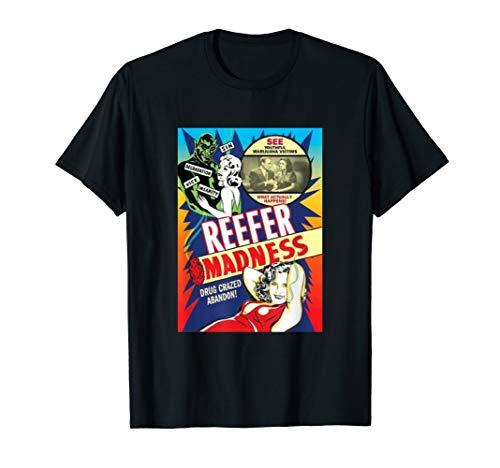 Lustige Reefer Madness Poster Vintage Film Retro TShirt T-Shirt (Schwarz Und Weiß-unkraut-poster)