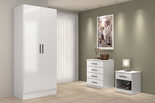 High Gloss Bedroom Furniture Sets - 3 Piece Trio Includes Wardrobe, Drawers Chest & Bedside (All White)