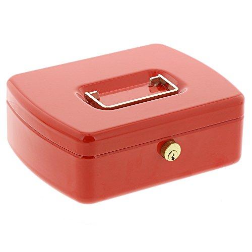 BURG-WÄCHTER Geldkassette mit Hartgeldeinsatz, Messingstift-Zylinder, Office 2207 (Rot Internationale Werkzeug-boxen)