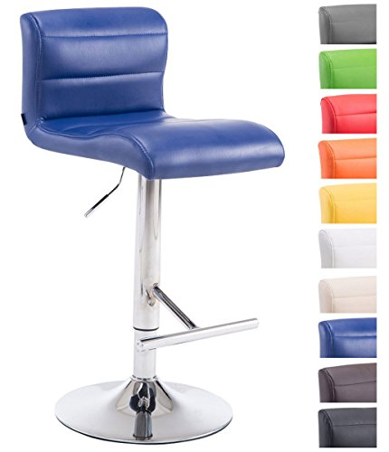 Clp sgabello bar denver v2 in similpelle con poggiapiedi - sgabello cucina girevole e regolabile 63-83cm - sedia alta pub con schienale blu