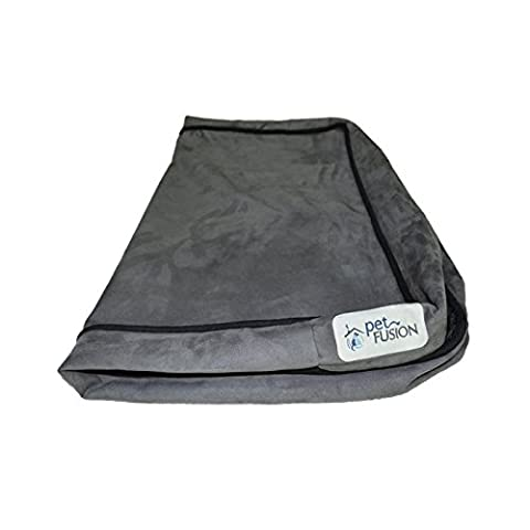PetFusion SerenityLounge Dog Bed (Large, 91 x 71 x 10 CM). Premium Suede Cover w/ Solid 10 CM Memory Foam. Replacement Covers also available (Large replacement cover, Slate