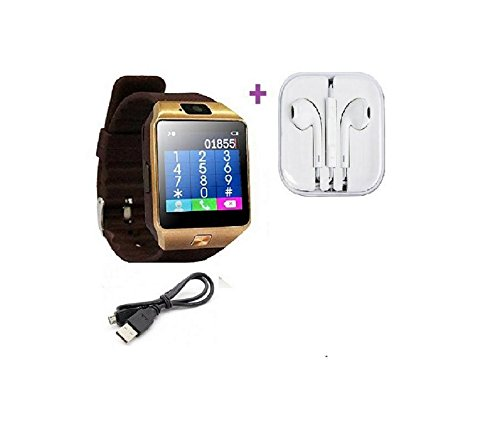 DZ09 Bluetooth Smartwatch with Sim Card, Camera & Memory Slot Support for Andorid/iOS Devices (Golden) (Offer Free Earphone)