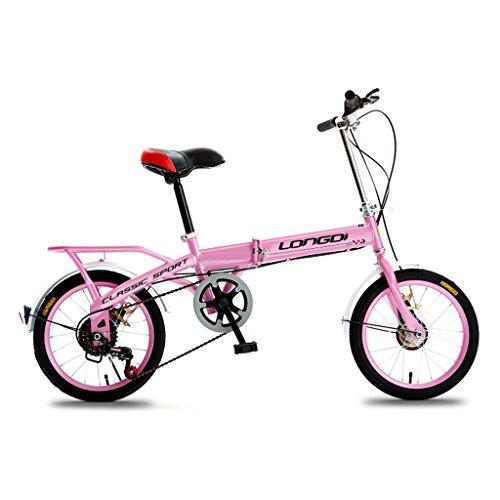 JIANPING Klappfahrrad 20 Zoll Erwachsenenfahrrad Speed   Shock Absorber für Männer und Frauen Fahrradrahmen aus Kohlenstoffstahl, schwarz/pink Kinderfahrrad (Color : Pink)