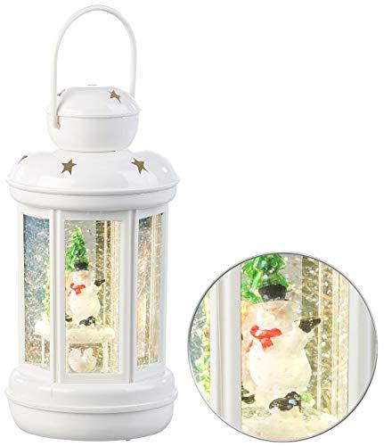 infactory Schneekugel: LED-Laterne mit Schneewirbel und Deko-Schneemann, warmweiß (LED Schneekugel mit Glitterwirbel)