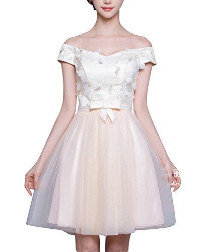 LaoZan Damen Elegant Cocktailkleid Brautjungfernkleid Spitzenkleid Festliches für Kleid Hochzeit Partykleid Hutform F