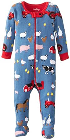 Hatley Baby Boys Infant Footed Coverall Farmer Jack Pyjama Set, Blue, 0-3 Months
