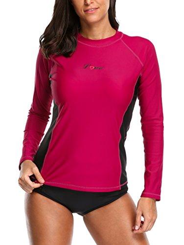 ALove Damen Rashguard UV Shirt Langarm Schwimmshirt UV Schutz 50+ Violett Rot 2XL (Uv-schutz Langarm Neoprenanzug)