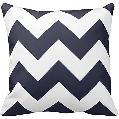 Copriletto Chevron-Federa per cuscino con motivo a zig-zag, in tela, colore: blu Navy, Accent Cuscino 45,72 x 45,72 (18 x 18 cm