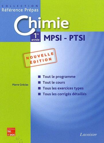 Chimie 1re année MPSI - PTSI