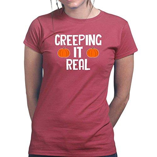 Womens Creeping It Real Halloween Ladies T Shirt (Tee, Top) Large Maroon