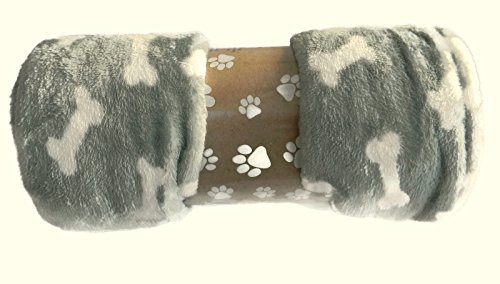 Thro Plush Dog Pet Bones Blanket Throw 50'x 60' Sage and White