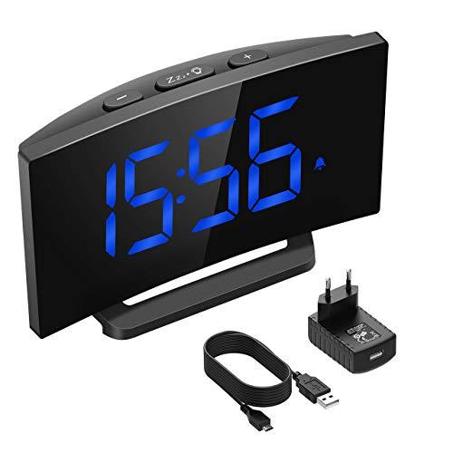 """Mpow Digitaler Wecker, Digitalwecker, 5\"""" LED-Display, Digitaluhr, Tischuhr, 3 Alarmtöne, 2 Lautstärke, 9' Snooze, 6 Helligkeit, 30' Klingelzeit, Datensicherung, USB-Ladeanschluss.(Adapter im Paket)"""