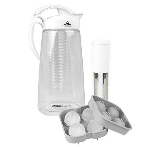 Oishii Tee Infusion Master, Infuser Set mit Karaffe 2200 ml, Tee-Einsatz und Fruchteinsatz, XXL Eiswürfelform, Weiss