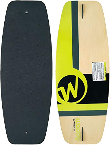 MESLE WAKETEC Wakeskate Woody 41'', 105 cm Eva Flat-Deck Board up to 80 kg, Green, Easy to Ride, barfoot Riding Possible
