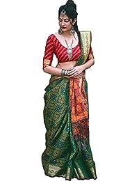 Fabrica Fab Women Patola Silk Green Saree With Blouse Piece