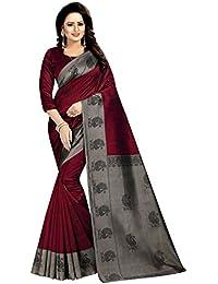 Rensila Fab Women's Mysore Art Silk Saree with Blouse Piece (Maroon)