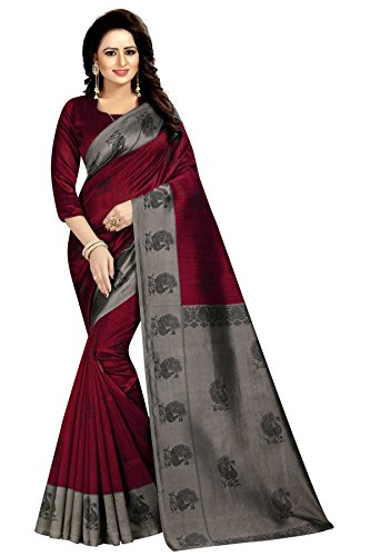 Rensila Women's Mysore Art Silk Sarees With Blouse Piece (GR_Mayuri Red _Maroon)