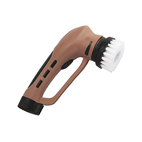 Household Electric Shoe Mini Polisher with Rechargeable Battery, Hand-Held Portable Leather Shine Kit Brown