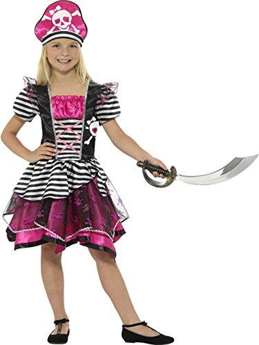 Halloweenia - Buntes Mädchen Kinder Piratenkostüm Pirantenbraut Piratin mit Hut, 122-134, 7-9 Jahre, Pink
