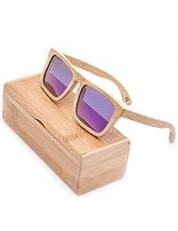 1 Pieza Gafas De Sol Polarizadas Cuadrados Retro Hechas A Mano De Bambú UV400 Con Estuche De Gafas Para Hombres Y Mujeres