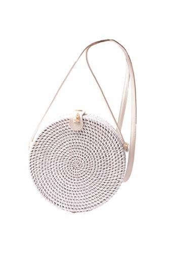 Howoo Damen Rund Handgefertigt Rattan Tasche Kreis Handgewebt Stroh Tasche Korb Sommer-Strandtasche Schultertasche Umhängetasche Weiß