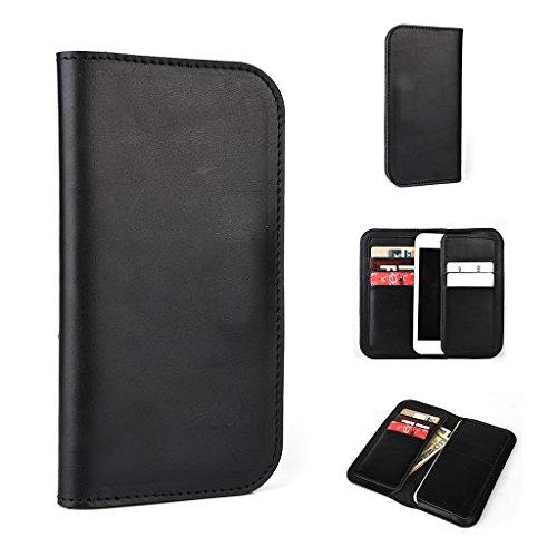 Portefeuille en cuir véritable étui housse pour Prestigio MultiPhone 5400Duo Marron - marron noir - noir