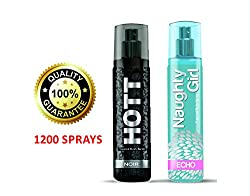 Hott NOIR & Naughty Girl ECHO Perfume Combo For Couple (1200 Sprays Each)