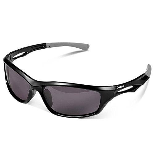 Duduma Polarisierte Sportbrille Sonnenbrille Fahrradbrille mit UV400 Schutz für Damen & Herren Autofahren Laufen Radfahren Angeln Golf TR90 (Schwarze Rahmen mit Schwarz Linse)