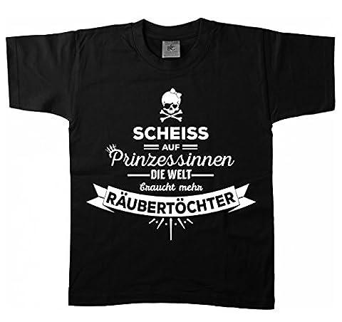 Artdiktat - Scheiß auf Prinzessinnen - Die Welt braucht mehr Räubertöchter - Kinder T-Shirt 134/146, schwarz