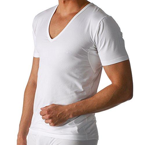 2er Pack Mey Herren Business Unterhemd - Größe 6 - Weiß - Drunterhemd - Unterhemd mit V-Ausschnitt - Shirt mit Einsätzen unter den Achseln - 46038 Dry Cotton Functional