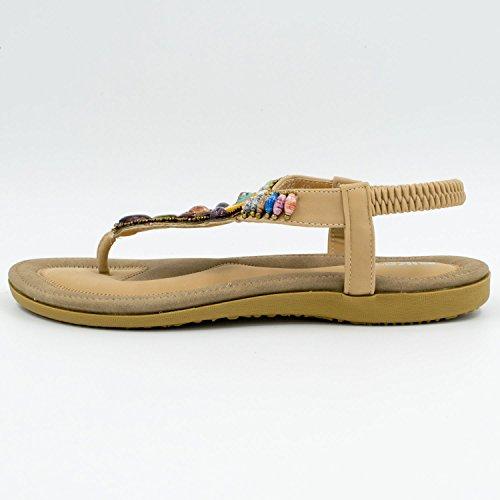 Oasap Boho Rhinestones Embellishment Y-Strap Thong Sandals For Women Khaki