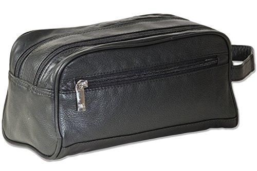 Rimbaldi® Doppelkammer-Kulturtasche mit enorm viel Platz aus weichem, hochwertigem Rind-Nappaleder in Schwarz -