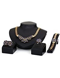Silver Shoppee My Princess Crystal And Cubic Zirconia Studded 18K Yellow Gold Plated Alloy Jewellery Set For Girls...