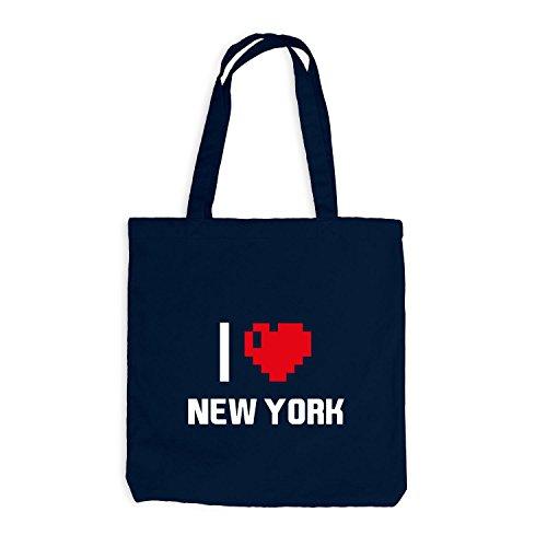 Jutebeutel - I Love New York - USA Reisen Travel Heart Navy