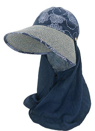 Roffatide Damen Sonnenhut mit Nackenschutz Sommerhüte Für Frauen UV schutz Outdoor Strohhut Aufrollen Bogen Mütze Marineblau (Mütze Schild Mesh-gesicht)