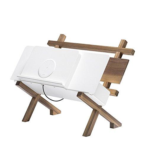 Zens Crossdock Wireless Design-Zeitschriftenhalter mit Integrierter Qi Ladestation für Smartphone Walnuss/weiß