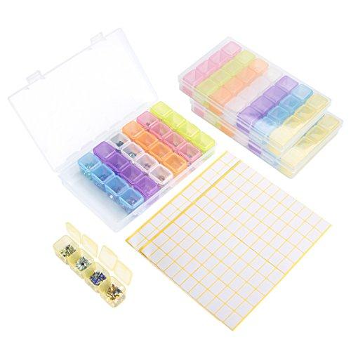 Aufbewahrungsbox 3 Stück 28 Slots Diamant Malerei Stickerei Box mit 2 Label Marker Aufkleber, Bunt Plastik Zubehörteil Sortierbox Abnehmbar Fächer Sortimentskasten Storage Box Organizer -