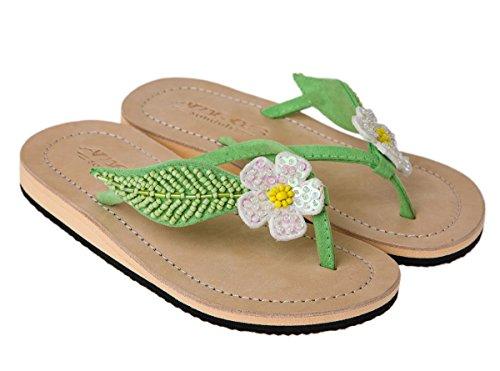 Amboss Mädchen Sandalen, Zehentrenner mit Echt-Leder, Blumen-Motiv Weiß Gr.31/32 (Pailletten-blumen-sandalen)