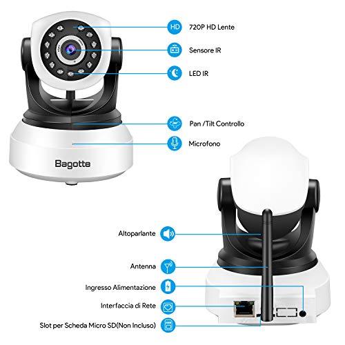 Bagotte HD 720P Telecamera Sorveglianza Wifi Interno, Videocamera IP Wireless Camera, Visione Notturna a Infrarossi , Audio Bidirezionale, Sensore di Movimento Pan/Tilt, Compatibile con iOS & Android - 9