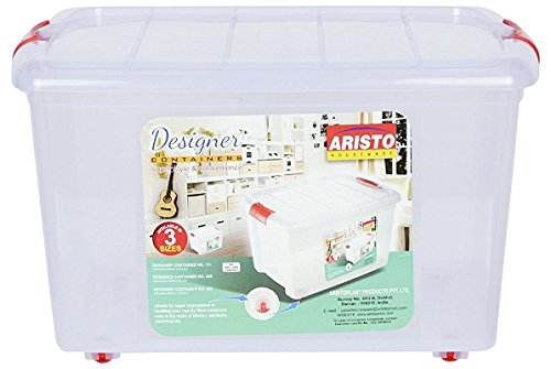 TOTO DEALS™ Big Plastic Storage Container Box with Wheels And Side Locking Handles (Set of 3 Boxes) (Material: Plastic, Dimension: 45.5cms x 34cms x 26cms, Capacity: 25 Liter, Colour: Clear Transparent)
