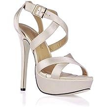 CHMILE Chau-Zapatos para Mujer-Sandalias de Tacon Alto de Aguja-Talón Delgado