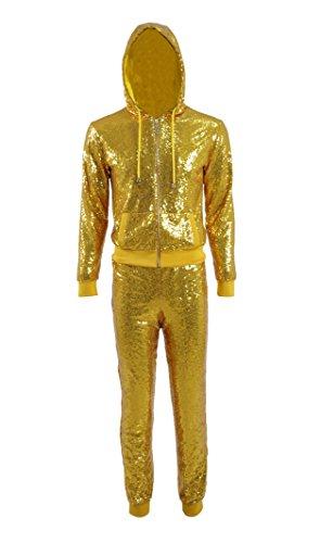 Und Kostüm Gold Glitter - Yeweiwenhua Herren Gold Glitter Pailletten Hoodie Kostüm Hosen Outfit Club Karneval Karneval (Golden, M)