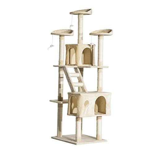 Rascador Gato Altura 180x60x50cm Arbol Poste Gato Arañar Centro Actividad Beige