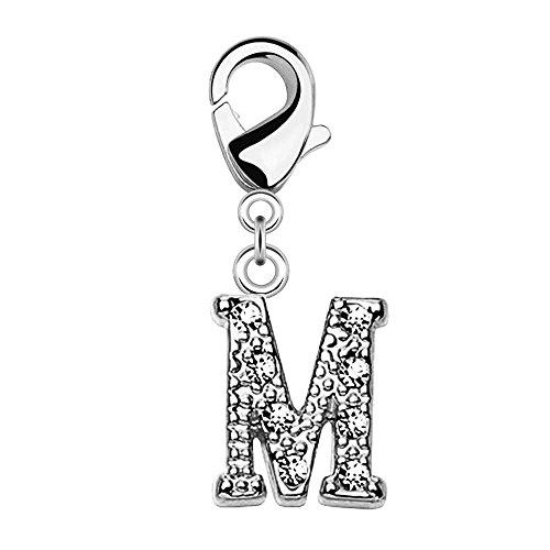 Bungsa® M - Silberner Buchstaben Kristall Charm Anhänger für Bettelarmband Ohrring Halskette Zirkonia Damen Herren Kinder (Kettenanhänger Pendant Beads A B C D E F G H I J K L M N O P R S T U V W Z )