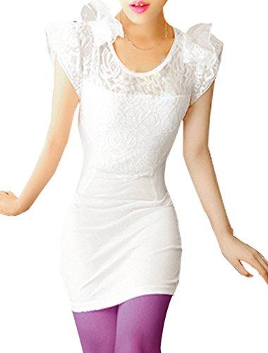 Femmes Floral Lacets Patchwork Upper Decolleté Pull-over Chemisier Long Blanc XS Blanc