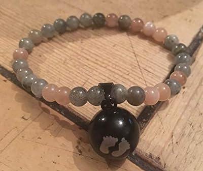 BOLA grossesse en bracelet LABRADORITE et PIERRE DU SOLEIL pierres naturelles semi-précieuse